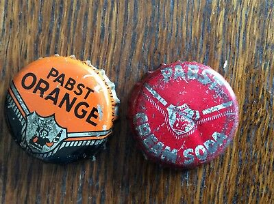 2 Different Pabst   Soda   Bottle   Caps  -  Cork Lined  -  Used