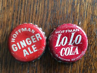 2 Different   Hoffman  Soda   Bottle   Caps  -  Cork Lined  -  Used