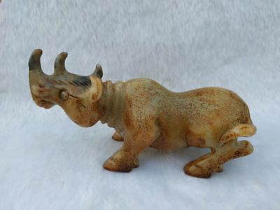 Old Chinese Hongshan Culture Jade stone Hand-carved Ancient animals Rhino statue