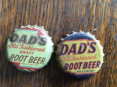 2 Different   Dad's Root Beer   Soda   Bottle   Caps  -  Cork Lined  -  Used