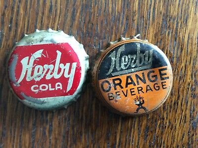 2 Different   Herby   Soda   Bottle   Caps  -  Cork Lined  -  Used
