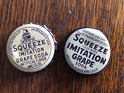 2 Different   Squeeze   Soda   Bottle   Caps  -  Cork Lined  -  Used