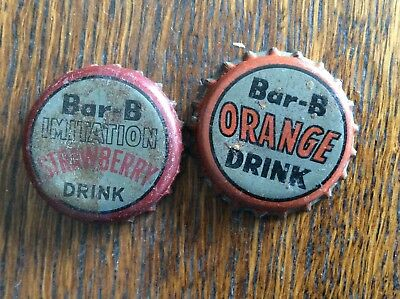 2 Different   Bar - B   Soda   Bottle Caps  -  Cork Lined  -  Used