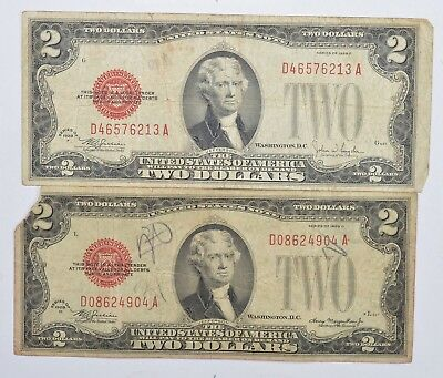 Lot (2) Red Seal $2.00 US 1928-D & F Notes - Currency Collection *239