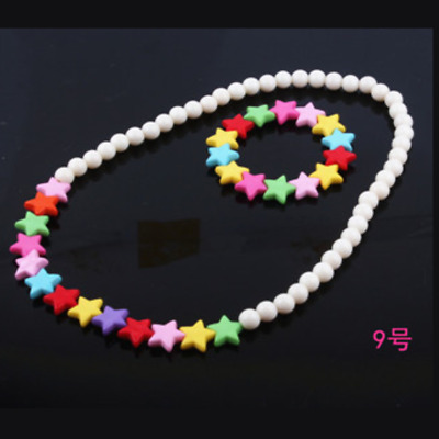 2pcs/set Children's Five-pointed star Jewelry Colorful Acrylic Beads Necklace Sw