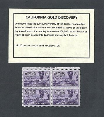 954 - Gold Rush - US Block of 4 with Informational Card -a
