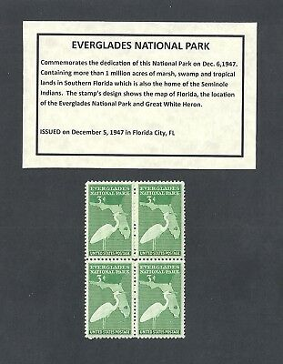 952 - Florida Everglades - US Block of 4 with Informational Card -a