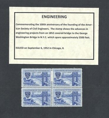 1012 - Civil Engineers - US Block of 4 with Informational Card -a