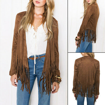 Women's Suedette Sleeveless Tassel Fringed Vest Coat Lapel Fall Jacket Waistcoat