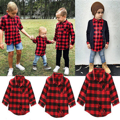 1-7Y Baby Kids Boy Girls Long Sleeve T Shirt Plaid Top Blouse Clothes Jacket  US