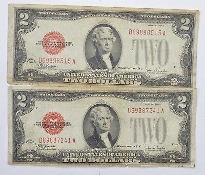 Lot (2) Red Seal $2.00 US 1928-F Notes - Currency Collection *266