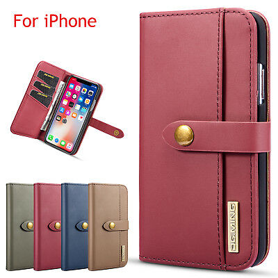 For iPhone Xs Max XR 8 7 Magnetic Detachable Leather Wallet Flip Card Case Cover