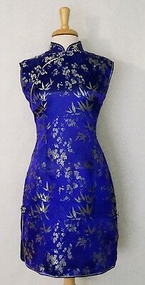 Shoulder Sleeve Chinese Cheongsam Qipao Dress wth bamboo and plum flower prints
