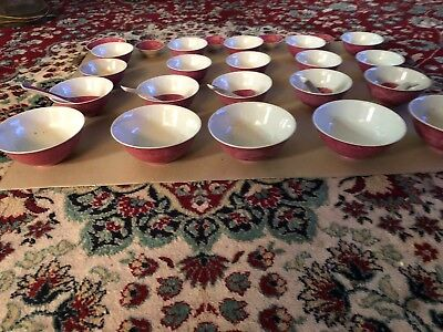 Rare Antique Chinese Plum Color Dragon Rice Bowls 30 Piece Set Marked