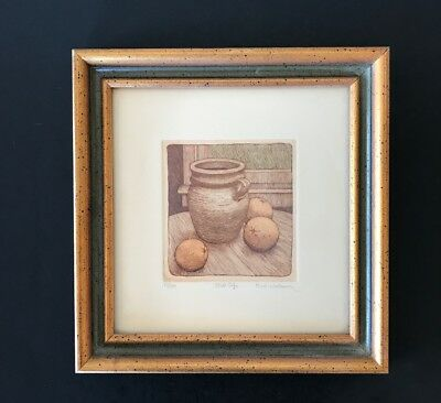 Susan Hunt-Wulkowicz Colored Etching Lithograph? Still Life Framed Art Signed
