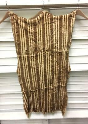 """Italy Golden Brown Printed 100% Sheared Rex Fur Pelt Skin L 42"""" Couture New"""