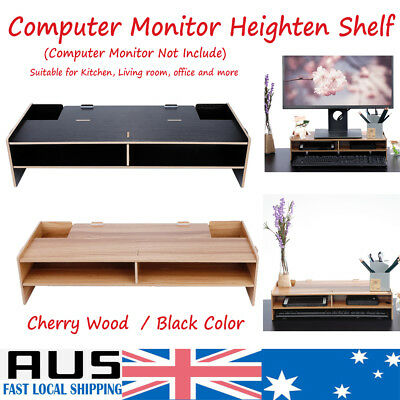 2019 AU 2 Layer Wooden Monitor Stand LCD Computer Monitor Laptop Riser Desktop