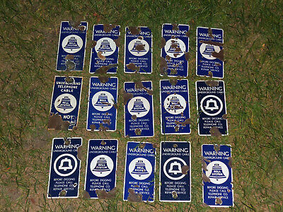 Lot of 15 Porcelain BELL SYSTEM Underground Telephone Cable Warning Signs