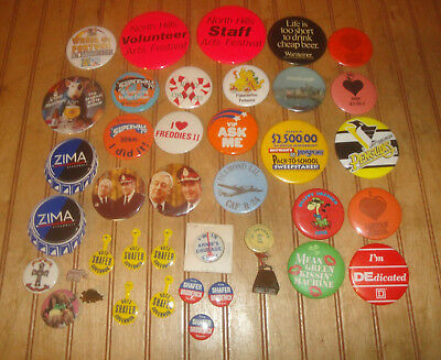 Lot Various Vintage Pins Political, Music, 1919 Union Steel Pittsburgh w/Bell++