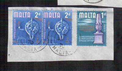 POSTAGE STAMPS x3 : MALTA : PORTO CHRISTIAN 2d - PUNIC  1 pence - 1969