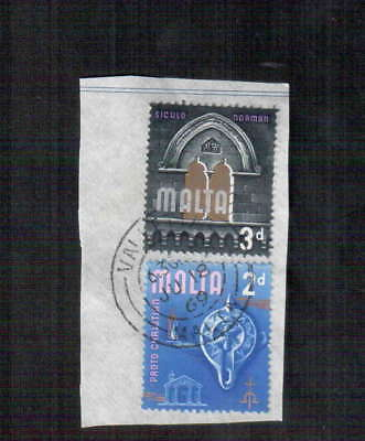 POSTAGE STAMPS x2  : MALTA -  PORTO CHRISTIAN 2d - SICULO NORMAN 3d - 1969