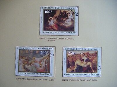 Set of 3 x stamps.REPUBLIC OF CAMEROON.Easter Paintings.Issued 1982