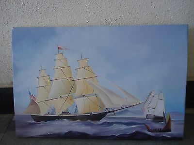 Hand Made OIL Painting on Canvas - Marine / Nautical / Boat / Maritime (1040)
