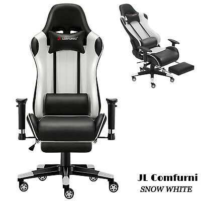 🎮JL Comfurni Office Video Gaming Chair Recliner Footrest Swivel PC Desk Chair
