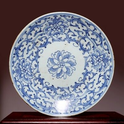 Superb Chinese Porcelain Blue and white Dish Qing Dynasty JiaQing Old Plate HX67