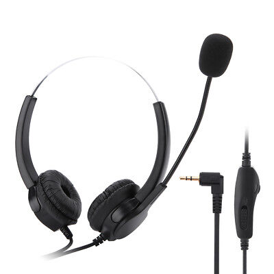 2.5mm Plug Headset w/ Microphone for Panasonic Office Home Cordless Phone System