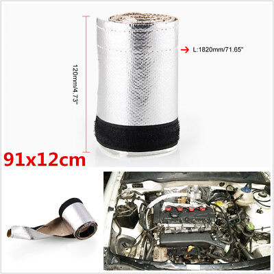 L:91cm W:12cm Car Metallic Heat Shield Thermal Sleeve Insulated Wire Hose Cover