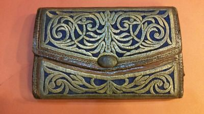 ANTIQUE OTTOMAN TURKISH LEATHER SILVER THREAD WALLET PURSE 19th