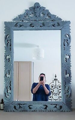 Beautiful Large Antique French 19th C painted hand carved OAK Mirror with crest