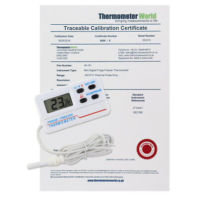 Calibrated Fridge Thermometer Freezer 2 Point Calibration Certificate - In-151