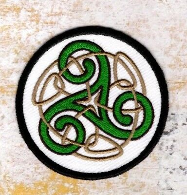 celtic knot patch Triskelion White Celtic Patch Iron to Sew on Badge