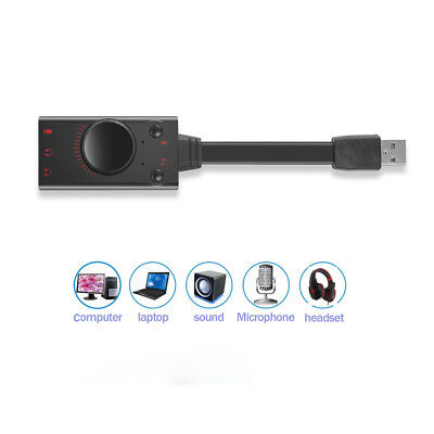 USB 2.0 3D Virtual 7.1 Channel Sound Card Adapter Audio Cable For PC Windows