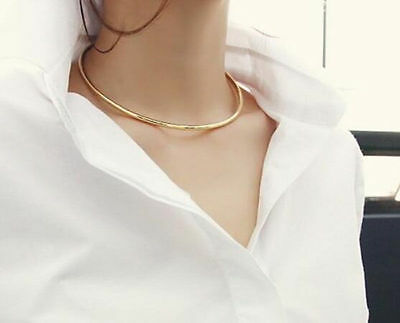 Fashion Simple Round Gold Silver Necklace Open Collar Choker Womens Jewelry Gift