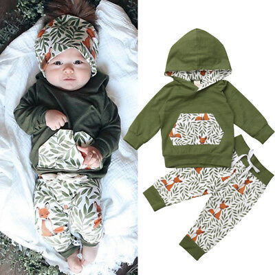 AU Cute Newborn Kids Baby Girl Boy Fox Hooded Tops Pants Autumn Outfits Clothes