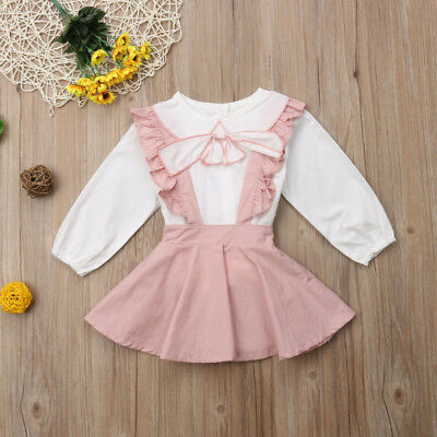 AU Toddler Kid Baby Girl Ruffle Tops Blouse Bib Strap Skirt Dress Outfit Clothes