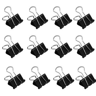 12 x Universal Metal Binder Clips 41mm Black Foldback Paper Clip Metal Clip Sets