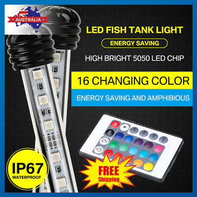 LED Aquarium Lights Submersible Crystal Glass Light For Fish Tank Underwater