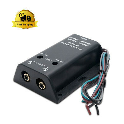 2 RCA Line Out Hi/Lo High Level to Low Level Output Amplifier Converter Adapter