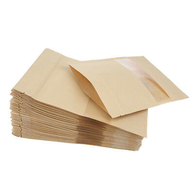 100X Kraft Paper Bags Pouch Stand Up Food Zip Lock Packaging Window 2 Size