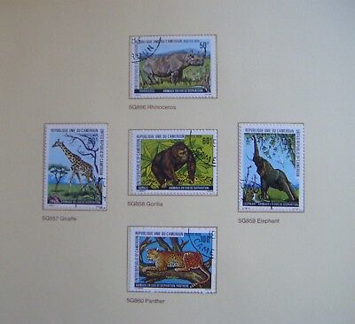 Set of 5 stamps.CAMEROON.Endangered Animals.Issued 1979