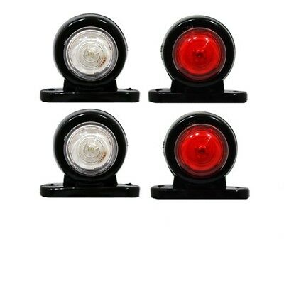 4 x LED Red White Side Marker Lights Outline Lamp Truck Trailer Van 12V/24V A01