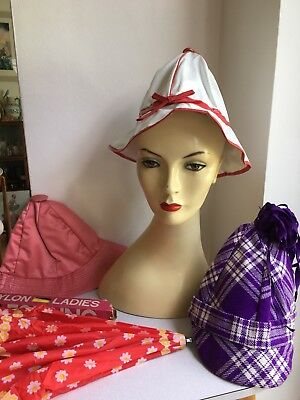 Authentic Vintage Collection of 1970s Hats and an Umbrella True Retro