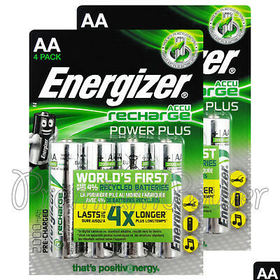 8 x Energizer AA Power Plus 2000 mAh Rechargeable batteries 1.2V NiMh Accu HR6