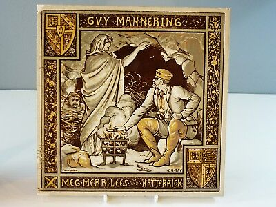 Antique Minton Tile Rare Guy Mannering 8 inch Tile by John Moyr Smith