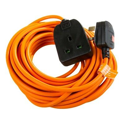 20m 13Amp 3 core INDUSTRIAL Orange Mains Extension Lead Cable Plug Electrical