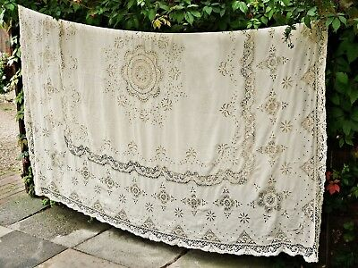 Antique Cloth 108 x 96 inches Magnificent Cream Hand Embroidered & Cluny Lace
